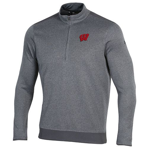 Wisconsin Badgers Under Armour Fleece Half-Zip Pullover Performance Jacket  Gray
