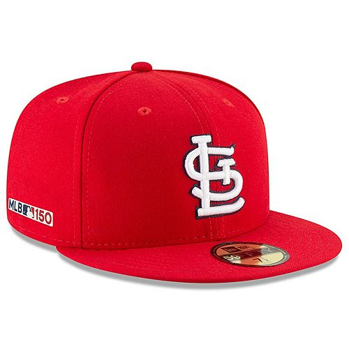 Men's New Era Red St. Louis Cardinals Game MLB 150th Anniversary Authentic Collection 59FIFTY Fitted Hat