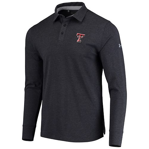 Men's Under Armour Black Texas Tech Red Raiders Charged Cotton Long Sleeve Performance Polo