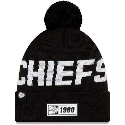 Men's New Era Black Kansas City Chiefs 2019 NFL Sideline Road Sport Knit Hat