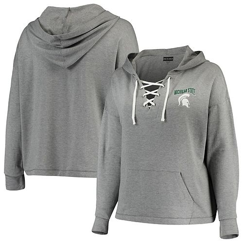 Women's 5th & Ocean by New Era Heathered Gray Michigan State Spartans Plus Size Lace-Up Pullover Hoodie