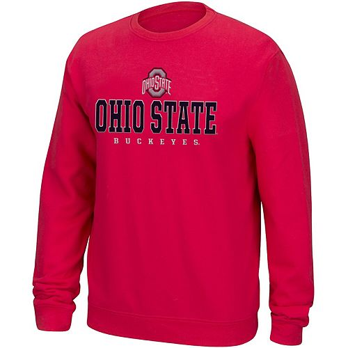 Men's Scarlet Ohio State Buckeyes Foundation Wordmark 2.0 Crew Neck Pullover Sweatshirt