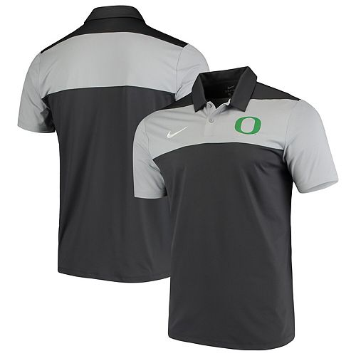 Men's Nike Anthracite Oregon Ducks School Logo Color Block Performance Polo