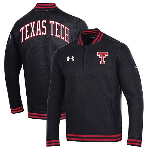 Men's Under Armour Black Texas Tech Red Raiders College Football 150th Anniversary Double Knit Quarter-Zip Pullover Jacket