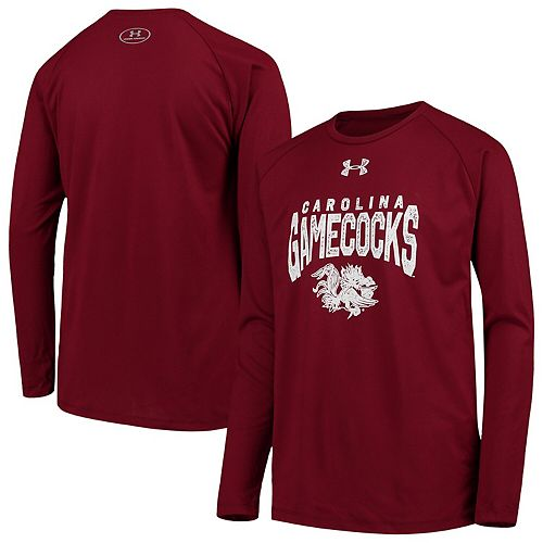 Youth Under Armour Garnet South Carolina Gamecocks Stretched Stack Tech Raglan Long Sleeve T-Shirt