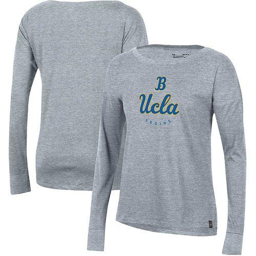 Women's Under Armour Heathered Gray UCLA Bruins Logo Performance Long Sleeve T-Shirt