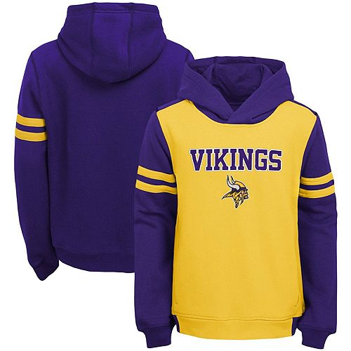 Youth Gold Minnesota Vikings Retro Colorblock Pullover Hoodie