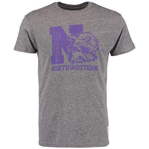 Men's Original Retro Brand Heathered Gray Northwestern Wildcats Vintage Tri-Blend T-Shirt