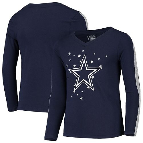 Girls Youth Navy Dallas Cowboys Reese Glitter V-Neck Long Sleeve T-Shirt