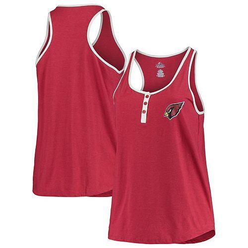 Women's Majestic Red Arizona Cardinals Plus Size Contrast Piping Tank