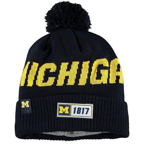 Men's New Era Navy Michigan Wolverines Sideline Road Cuffe Knit Hat with Pom