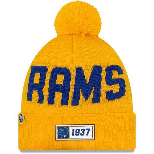 Men's New Era Gold Los Angeles Rams 2019 NFL Sideline Road Reverse Sport Knit Hat