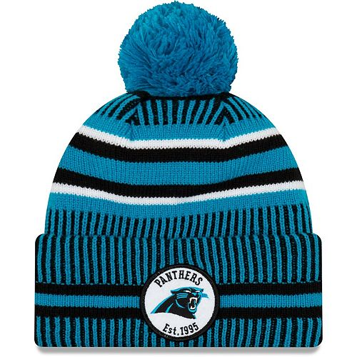 Youth New Era Black/Blue Carolina Panthers 2019 NFL Sideline Home Sport Knit Hat