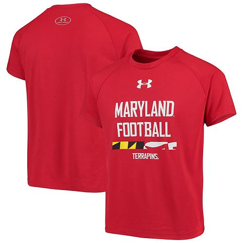 Youth Under Armour Red Maryland Terrapins Football Tech T-Shirt
