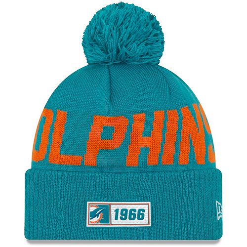 Youth New Era Aqua Miami Dolphins 2019 NFL Sideline Road Sport Knit Hat