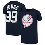 Youth Majestic Aaron Judge Navy New York Yankees Player Cap Logo Name & Number T-Shirt