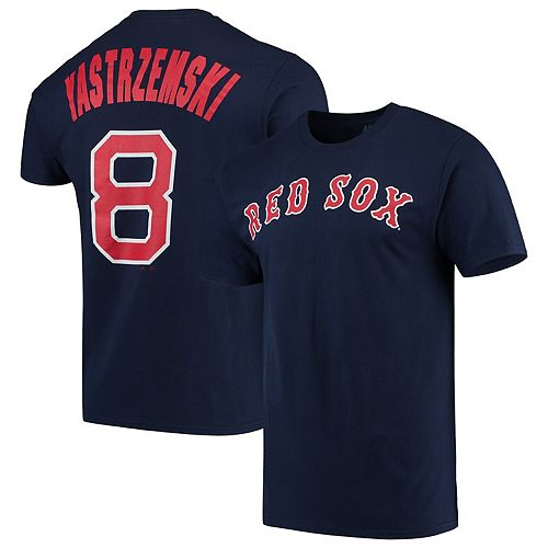 Men's Majestic Carl Yastrzemski Navy Boston Red Sox Cooperstown Collection Official Name & Number T-Shirt