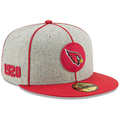 Men's New Era Heather Gray/Cardinal Arizona Cardinals 2019 NFL Sideline Home Official 59FIFTY 1920s Fitted Hat