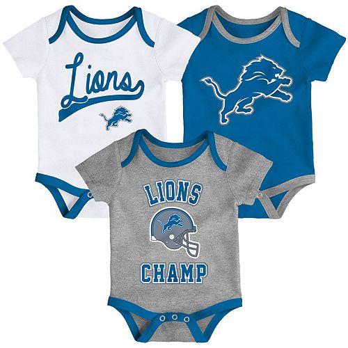 Infant White/Blue/Heathered Gray Detroit Lions Champ 3-Piece Bodysuit Set