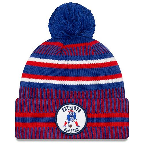 Men's New Era Royal/Red New England Patriots 2019 NFL Sideline Home Official Historic Logo Sport Knit Hat