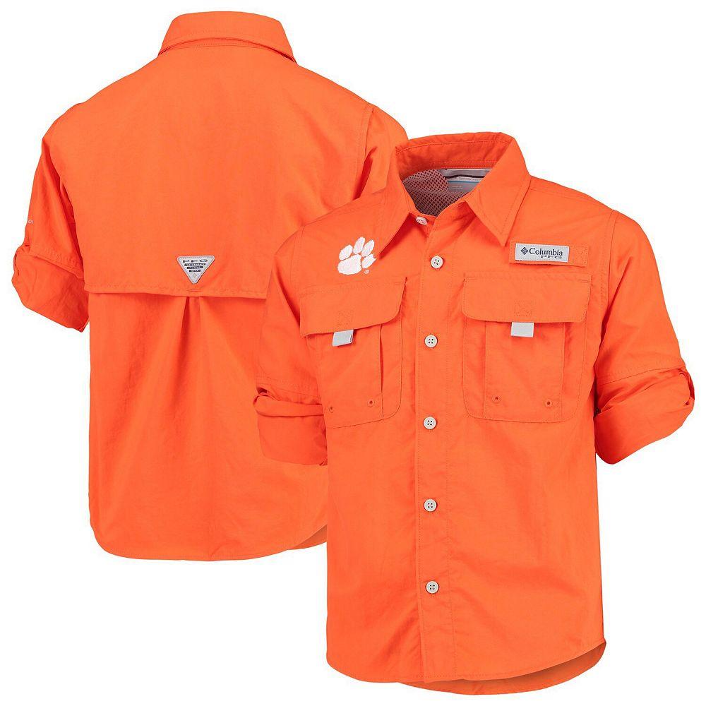 Youth Columbia Orange Clemson Tigers Bahama Fishing PGF Omni-Shade Shirt