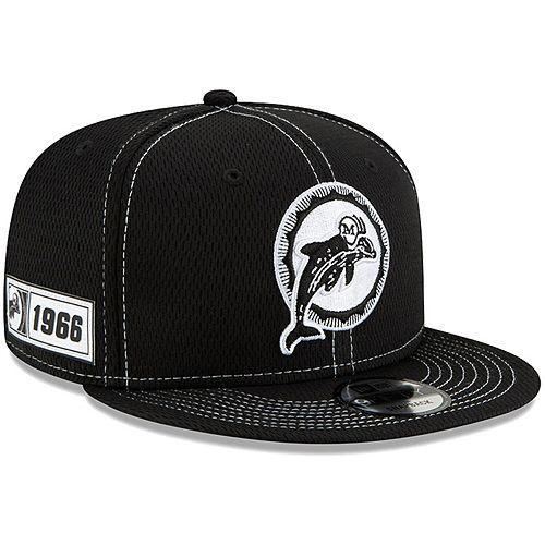 Men's New Era Black Miami Dolphins 2019 NFL Sideline Road Historic Logo 9FIFTY Snapback Adjustable Hat