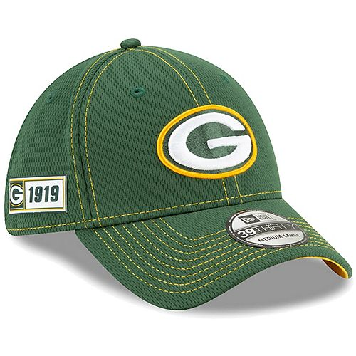 Youth New Era Green Green Bay Packers 2019 NFL Sideline Road 39THIRTY Flex Hat