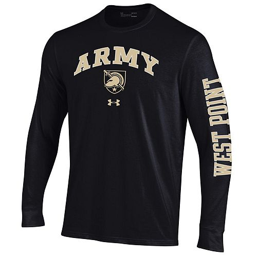 Men's Under Armour Black Army Black Knights Arched Two-Hit Performance Long Sleeve T-Shirt