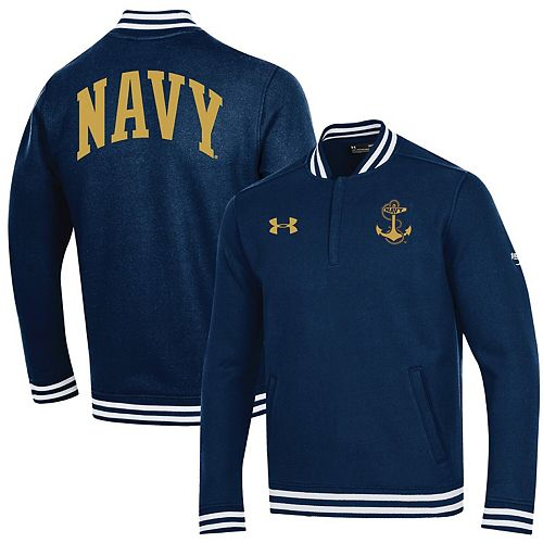 Men's Under Armour Navy Navy Midshipmen College Football 150th Anniversary Double Knit Quarter-Zip Pullover Jacket