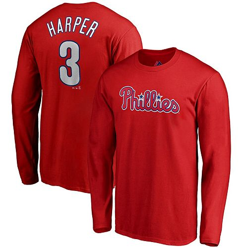 release date: cdf95 ced7e Bryce Harper Philadelphia Phillies Majestic Long Sleeve Name & Number  T-Shirt - Red