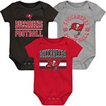 Newborn & Infant Red/Pewter Tampa Bay Buccaneers First & Ten 3-Pack Bodysuit Set