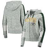 Women's New Era Green Green Bay Packers Athletic Space Dye French Terry Full-Zip Hoodie