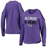 Women's New Era Heathered Purple Baltimore Ravens Cold Shoulder Tri-Blend Raglan Long Sleeve T-Shirt