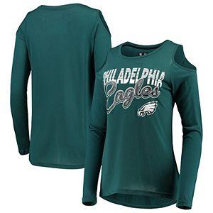 Women's G-III 4Her by Carl Banks Midnight Green Philadelphia Eagles Crackerjack Cold Shoulder Long Sleeve T-Shirt
