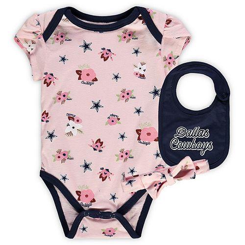 cheap for discount 8870d 43c67 Girls Infant Light Pink Dallas Cowboys Rosalie Bodysuit, Bib ...