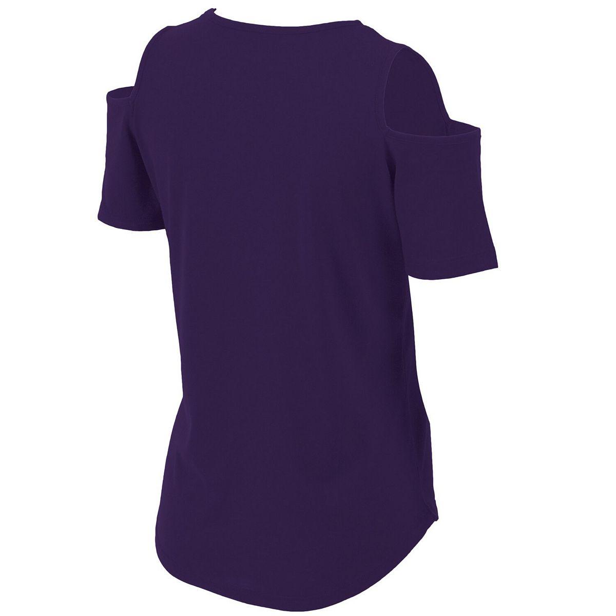 Women's Purple Clemson Tigers Plus Size Cold Shoulder T-Shirt z0KNh