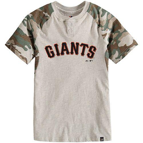 Youth Majestic Cream/Camo San Francisco Giants Base Stealer Henley T-Shirt