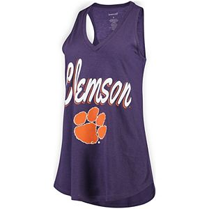 Women's Purple Clemson Tigers At Ease V-Neck Tank Top