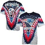 Men's Majestic Navy/ New England Patriots V Tie-Dye T-Shirt