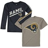 Youth Navy/Gray Los Angeles Rams Fan Gear Squad T-Shirt Combo Pack
