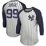Men's Majestic Threads Aaron Judge White New York Yankees Pinstripe 3/4-Sleeve Raglan Name & Number T-Shirt