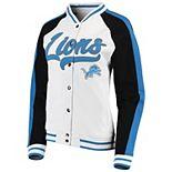 Women's New Era White/Black Detroit Lions Varsity Full Snap Jacket