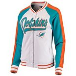 Women's New Era White/Aqua Miami Dolphins Varsity Full Snap Jacket