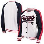 Women's New Era White/Navy New England Patriots Varsity Full Snap Jacket