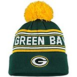 Youth Green Green Bay Packers Jacquard Cuffed Knit Hat with Pom