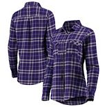 Women's Antigua Purple/Gray Minnesota Vikings Stance Flannel Button-Up Long Sleeve Shirt