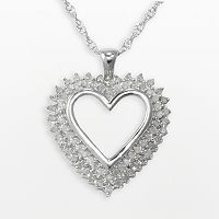 Sterling Silver 1/2 ctT.W. Diamond Heart Pendant