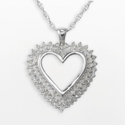 Sterling Silver 1/2-ct. T.W. Diamond Heart Pendant