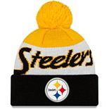Youth New Era White/Black Pittsburgh Steelers Script Cuffed Knit Hat with Pom
