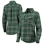 Women's Antigua Green/Gray Green Bay Packers Stance Flannel Button-Up Long Sleeve Shirt